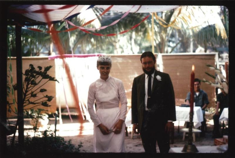 Marge Nelson and Robert Perisho at their engagement ceremony at Quaker House in Quang Ngai in the fall of 1969.