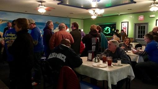 A group of Dauphin County Democrats gathered in Harrisburg to watch election returns come in.