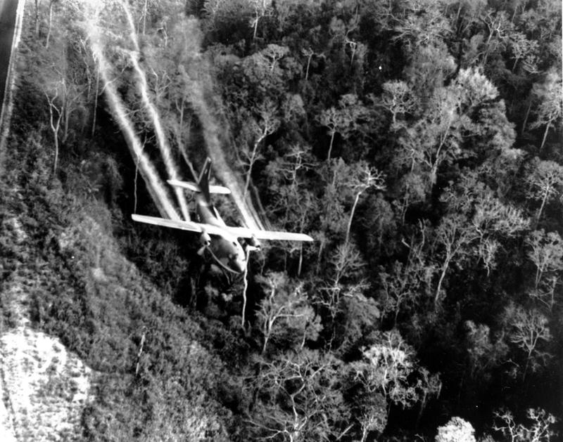 In this May 1966 file photo, a U.S. Air Force C-123 flies low along a South Vietnamese highway spraying defoliants on dense jungle growth beside the road to eliminate ambush sites for the Viet Cong during the Vietnam War.