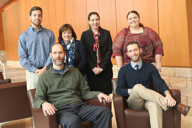 Penn State Law Veterans and Servicemember Legal Clinic Director Michele Vollmer (back row, second from left) and Supervising Attorney Jeff Erickson (front row, left) with clinic students.