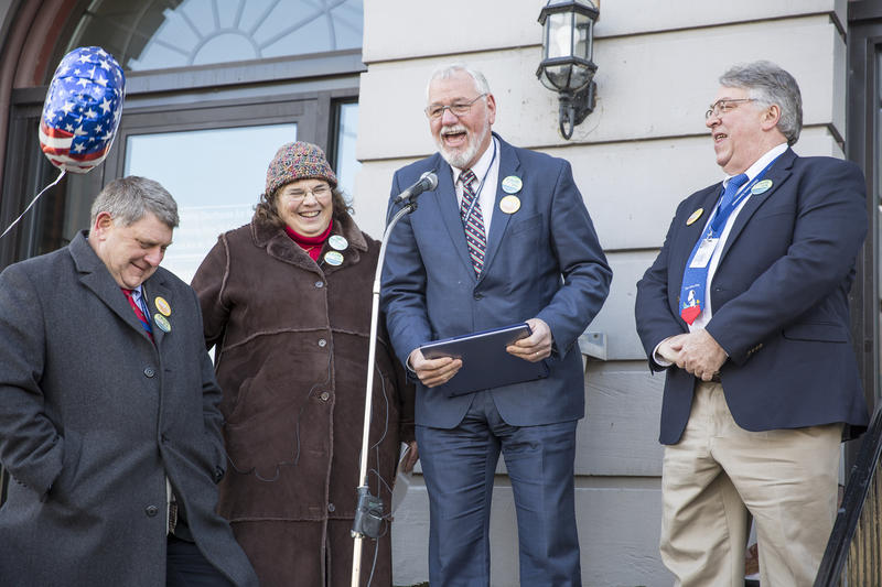 County Commissioners and advocates spoke in front of county courthouse in Lock Haven