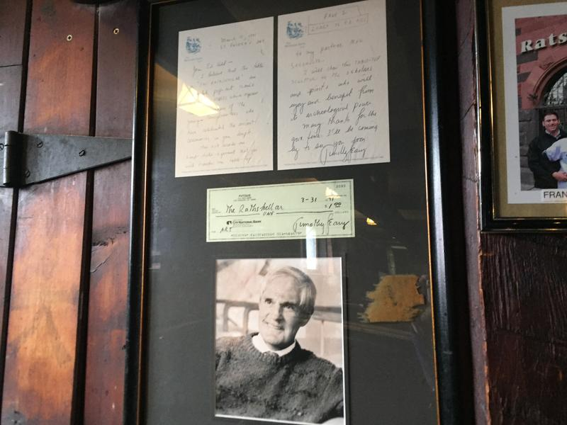 A note from Timothy Leary hangs in the Rathskeller