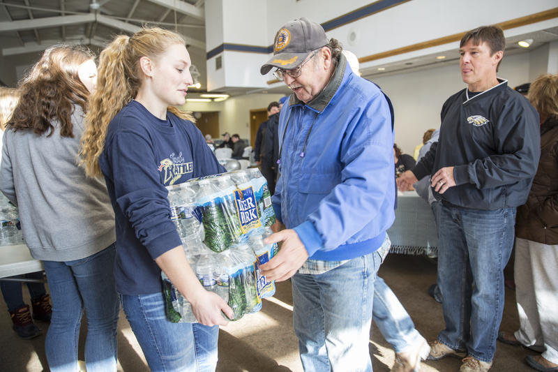 Thirty-three students from Bald Eagle Area High School volunteered to help distribute bottled water to residents of the Snowshoe area.