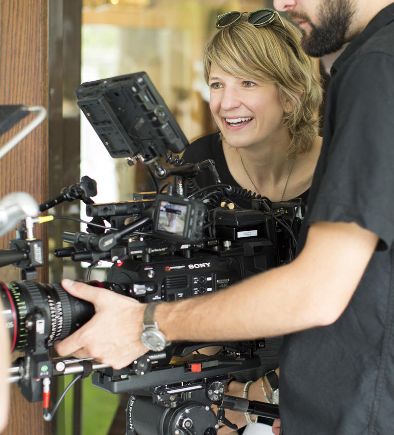 "Ky Dickens filming ""Zero Weeks."""