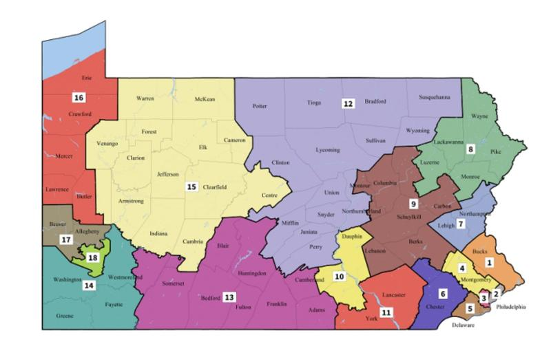 The new Pennsylvania congressional map.