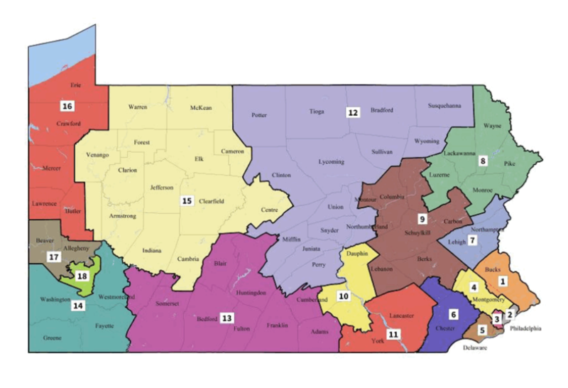 The map of Pennsylvania Congressional districts, released February 19, 2018 by the PA Supreme Court.