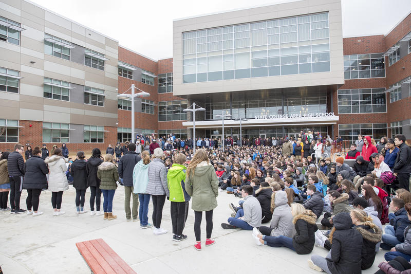 About 300 State College High School students attended a memorial in rememberance of the victims of the Parkland Shooting in conjunction with the National School Walkout.