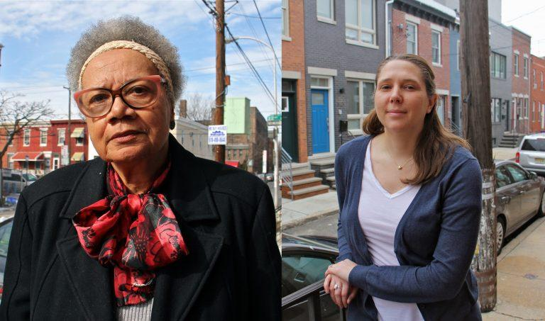 Claudia Sherrod (left) and Haley Dervinis (right) both live in Point Breeze. Although Dervinis is a newcomer, she's also wary of the rapid change.