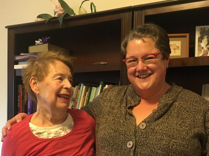 Alyce Ritti (left) and poet Camille-Yvette Welsch (right).
