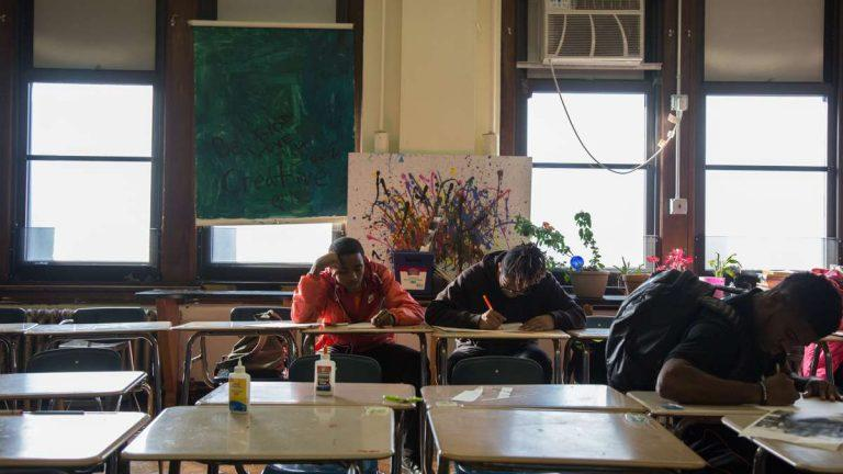 Students at an art class in Overbrook High School in Philadelphia in 2016. State Senator Vincent Hughes has cited Overbrook as an example of a school in need of repair.