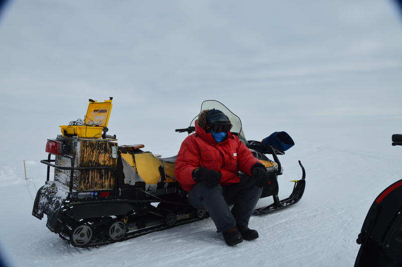 Don Voigt waiting in the cold for all clear from team recording the seismic shot.