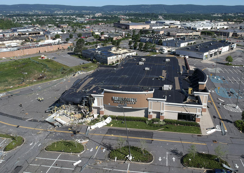 An aerial photo shows damage to a Barnes & Noble Booksellers after Wednesday's severe weather system passed through Wilkes-Barre Township, Pa.