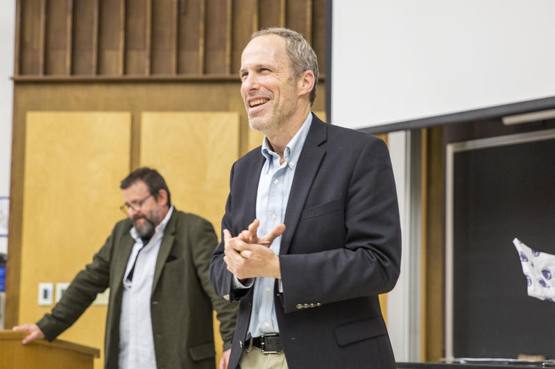 Boaz Dvir spoke to the crowd at the rough cut screening of his upcoming documentary film, Cojot, on Penn State's University Park campus in April. He was joined by actor Judd Nelson, who narrated the film.