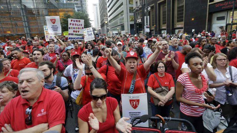 Members of the Philadelphia Federation of Teachers at a center city rally. The U.S. Supreme Court decision Wednesday could cripple the political influence of teachers' unions.