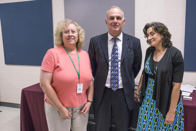 Centre County District Attorney Bernie Cantorna (middle) hosted a town hall in Philipsburg Tuesday night to address opioid addiction in the area. Cathy Arbogast (left) and Karlene Shugars (right) gave presentations as well.