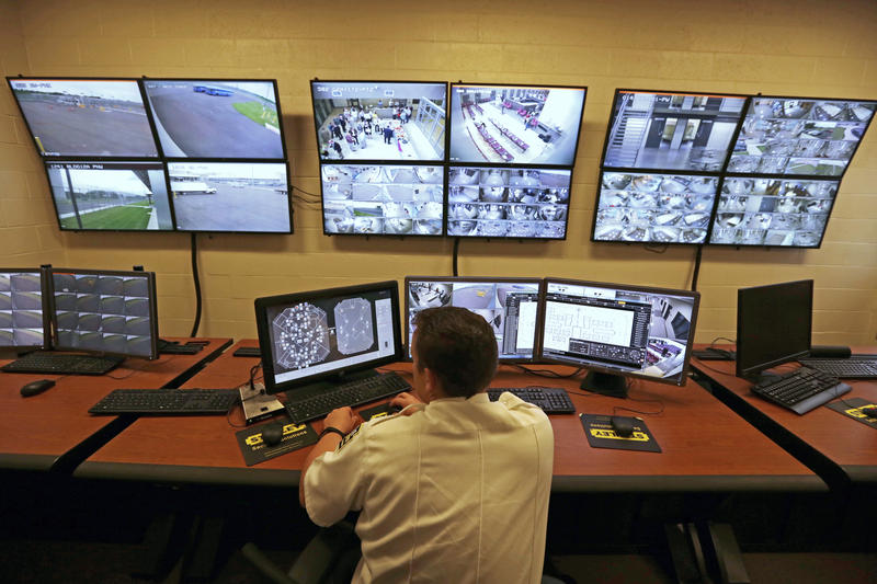 FILE – This June 1, 2018, file photo, shows a control center in the west section of the State Correctional Institution at Phoenix in Collegeville, Pa.
