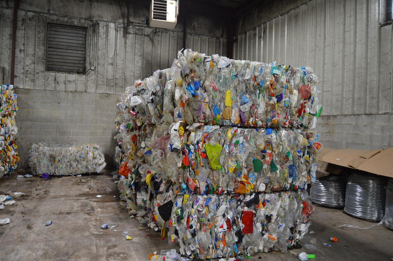 Bales of miscellaneous plastic to be sold as recycled materia