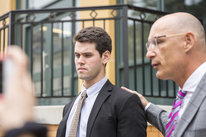 Ryan Burke, one of the former fraternity members charged in relation to the hazing death of Penn State student Timothy Piazza, outside the Bellefonte courthouse on June 13, 2018 after entering a guilty plea.