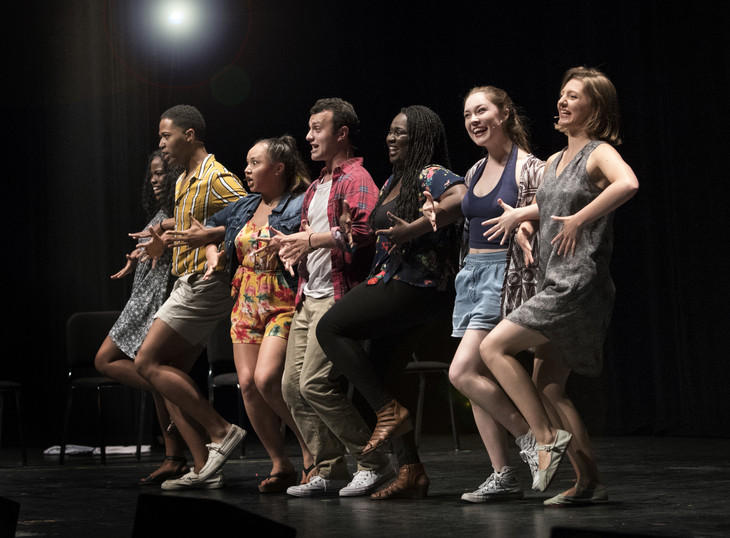 "The cast of ""Results Will Vary*"" during a summer preview performance in Eisenhower Auditorium."