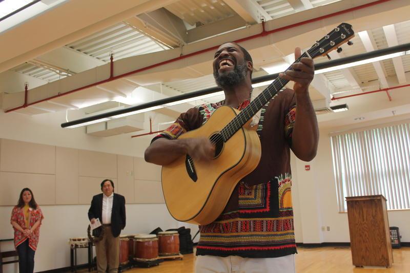 Eric Ian Farmer performs at the Multicultural Unity Fair.