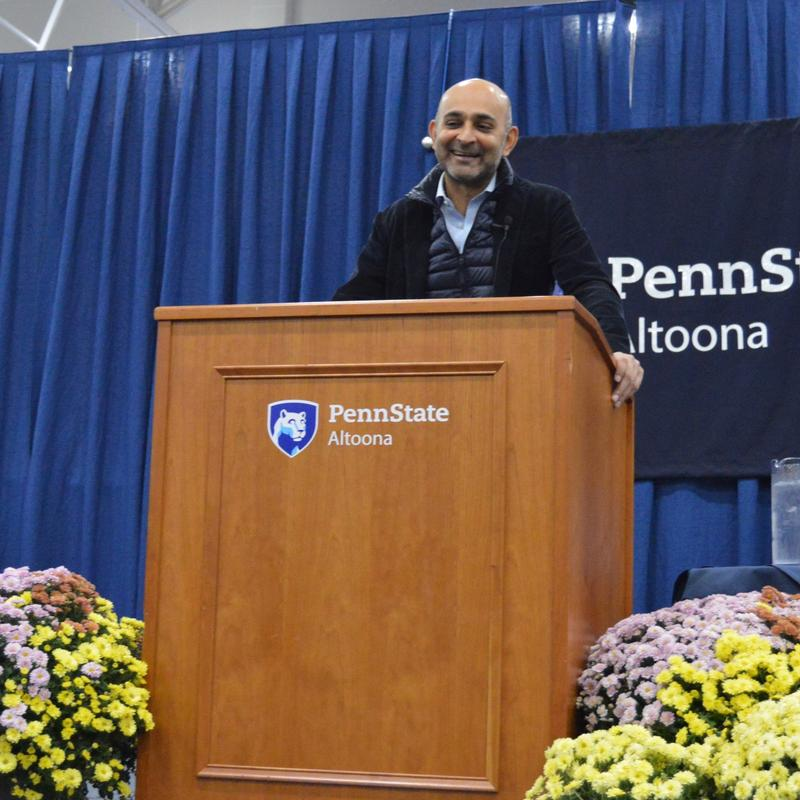 "Mohsin Hamid, author of ""Exit West,"" spoke at Penn State Altoona on Tuesday night."