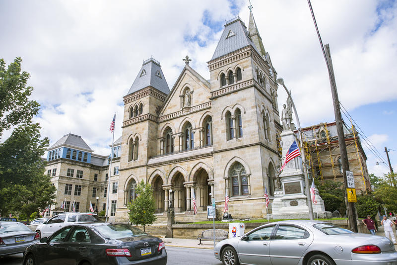 The Blair County Courthouse sits on Allegheny Street in Hollidaysburg, PA. Private funding for the District Attorney Office and local law enforcement has put immense pressure on the county's public defenders.
