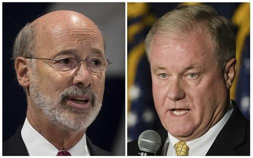 This combination of October 2017 file photos shows Pennsylvania gubernatorial candidates Democrat Gov. Tom Wolf, (left), and Republican Scott Wagner.