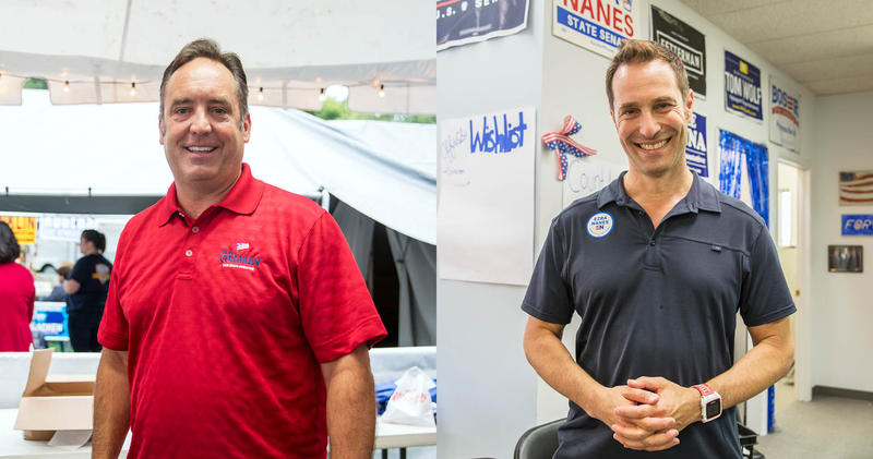 Republican incumbent of the 34th State Senate district, Jake Corman, left, is facing a Democratic challenger, Ezra Nanes, in this year's midterm elections.