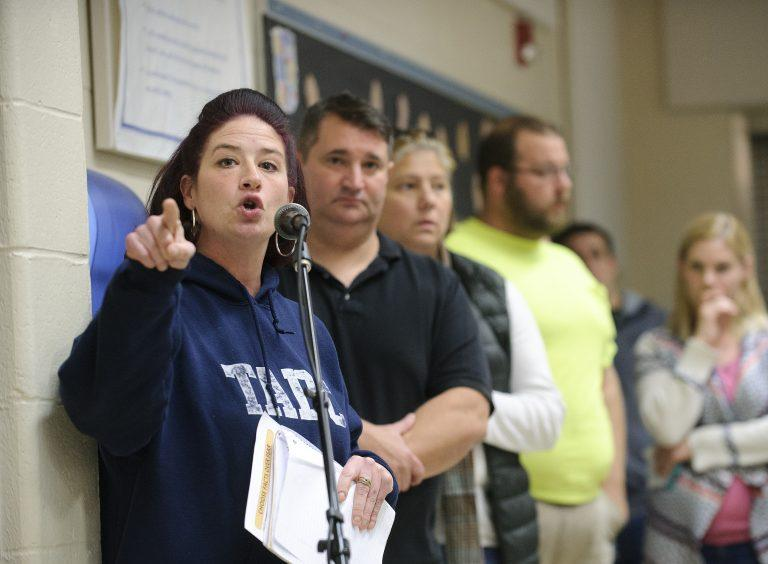 Tamaqua parent Rebecca Kowalski criticizes the school board's new policy that would authorize the training and arming of some teachers and staff.