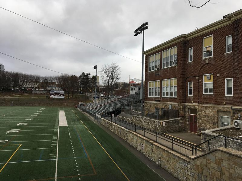 View of Memorial Field and Nittany Avenue building