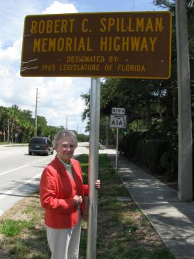 Alma Lee Loy at sign dedicating A1A to Robert Spillman
