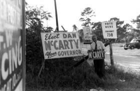 Unidentified man campaigns for McCarty.