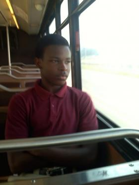 Kyriakus Matthews rides the bus home after school every day. (Tegan Wendland/WRKF)