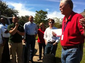 St. John Parish Public Safety Director Jobe Boucvalt explains the path taken be Isaac's flood waters to members of the legislature's Hurricane Recovery Committee. (WRKF/Amy Jeffries)