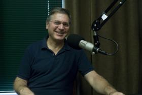 Mayoral candidate Steve Myers in the WRKF studio.