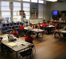 Westwego, LA, March 29, 2007 -- A first grade teacher works through the a lesson with her class. (Robert J. Alvey/FEMA)