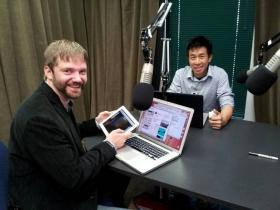 Jesse Allison and Nick Hwang play in the Laptop Orchestra of Louisiana. (WRKF/Tegan Wendland)