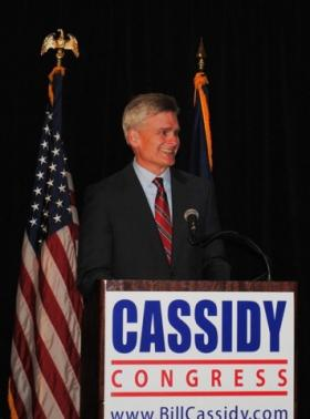 Republican Rep. Bill Cassidy addresses supporters at his watch party on Election Night 2012.