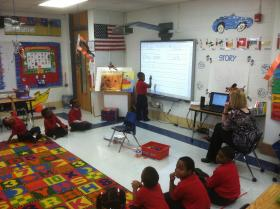 George Hall kindergarteners learn writing basics in Samantha Laubenthal's class.