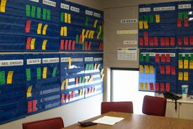 Student progress is tracked in Hosanna Christian Academy's 'War Room'.