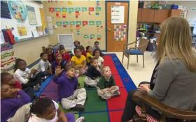 Kindergarten students at Jones Paideia Magnet learn about the Civil Rights movement.