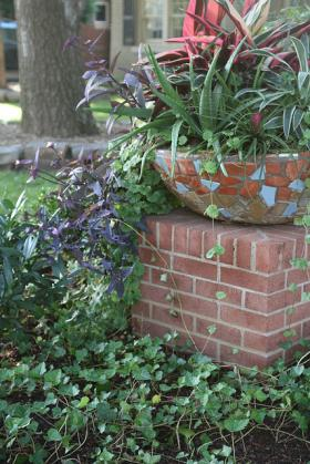 Container gardening enhances an outdoor living space.