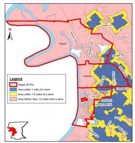 Research compiled by the Pennington Biomedical Research Center shows the extent of food deserts in Baton Rouge. The Scotlandville community is located at the top with zip code 70807.