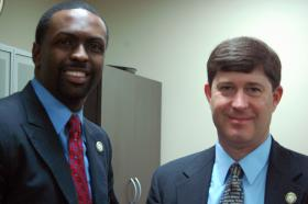 Baton Rouge Democrat Rep. Ted James (left) and New Orleans Republican Rep. Kirk Talbot have both proposed bills this session moderating the education overhaul of 2012.