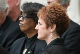 LAE President Debbie Meaux (right) standing with her predecessor Joyce Haynes at a rally.