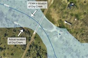 A new FEMA flood map of Burnet County, Texas has mistakenly placed the house marked 501 shown here in a high-risk flood area.