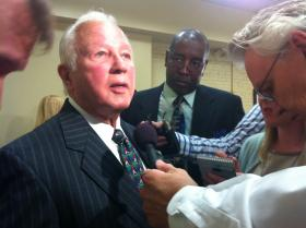 Edwin Edwards is swarmed by reporters after announcing his run for Congress in the 6th District at the Baton Rouge Press Club, March 17, 2014.