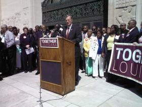 Sen. Ben Nevers speaks at payday loan reform rally