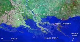 Scientists' rendering of the Louisiana coastline in 2100--if land loss is not reduced or halted.