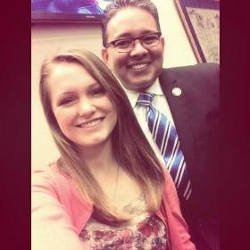 "Ruston High student Madison Wooley's ""selfie"" with Sen. Rick Gallot"